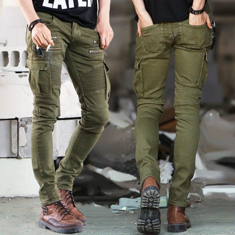 Зеленый черный деним байкерские джинсы мужские узкие 2015 взлетно-посадочной полосы Проблемные Тонкий эластичные джинсы хип-хоп мыть