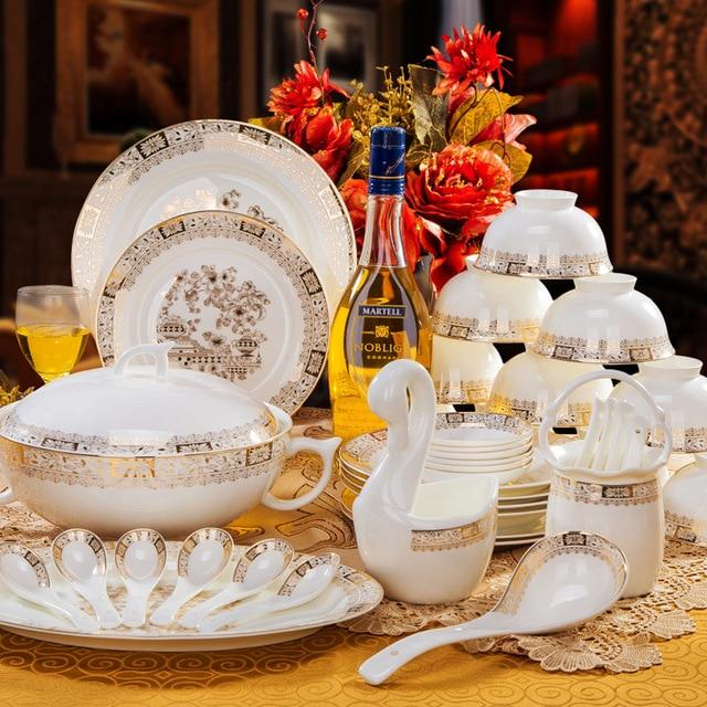 Vilo Golden Garden Patterned Bone China 40 Piece Dinnerware Set Classy Patterned Dinnerware Sets