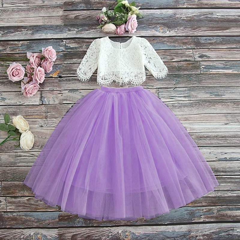 HTB19e0EWhjaK1RjSZFAq6zdLFXas Children Girls Embroidery Clothing Wedding Evening Flower Girl Dress Princess Party Pageant Lace tulle Gown Kid Girls Clothes