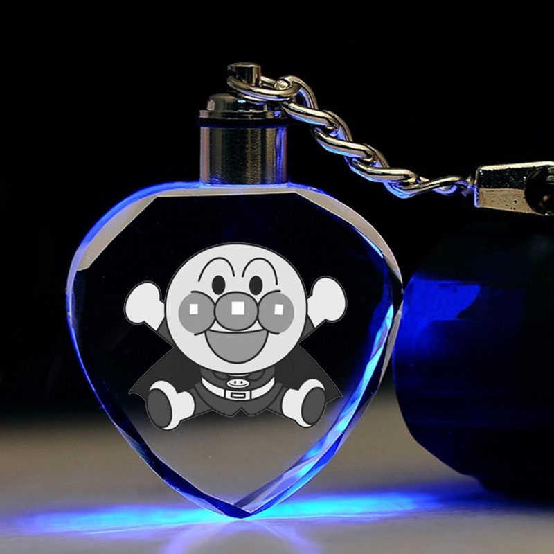Anpanman forma de corazón Anime LED llaveros figura llavero de cristal juguete llavero luz llavero Unisex regalos de cumpleaños nuevo