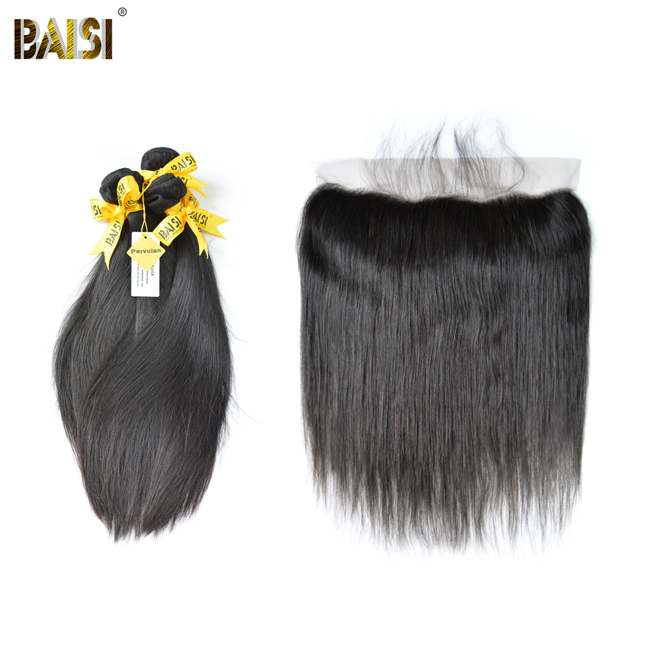 BAISI Hair, 100% Unprocessed Human Hair Peruvian Virgin Straight Hair 10-28 inch, 3 Bundles and 13x4 Frontal, Free Shipping