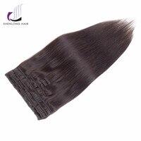 SHENLONG HAIR Weaving Straight Remy Hair Weaving Mongolian 2 Clip In Hair Extensions 9pcs Set 16
