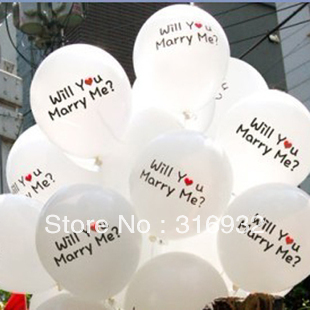 M3 Free shipping 100pcs/lot will you marry me printed Balloons for wedding decorations