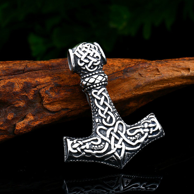 Beier Stainless steel thor's hammer mjolnir pendant necklace viking scandinavian norse man punk rock Vintage jewelry BP8-385