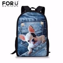 FORUDESIGNS Children School Bags Denim Animal Printing Backpack French Bulldog Shoulder for Girls Boys Book  Bag
