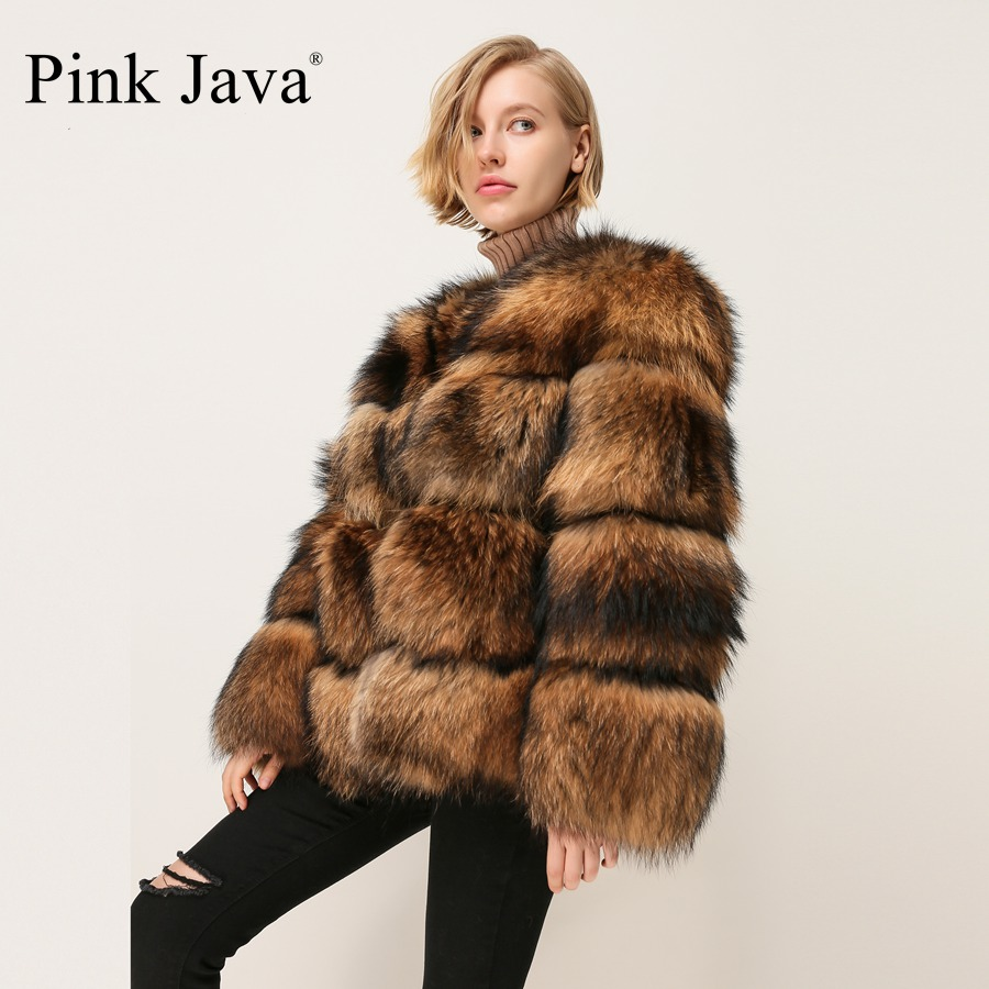 PINK JAVA QC1874 New Arrival Free Shipping Women Winter Real Raccoon Fur Coat Fluffy  Hot Sale Wholesale Fur Dress