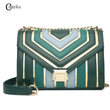 CUMYKA Spring New Collision Candy Color Shoulder Bags Mini Fashion Bag For Woman Small Messenger Crossbody PU Flap Chain Handbag