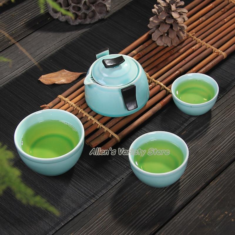 special offer on sale! pottery Celadon TeaPot Tea Cup Gaiwan,Portable Travel Tea Set,Traditional Tea Set pottery quik cup teacup