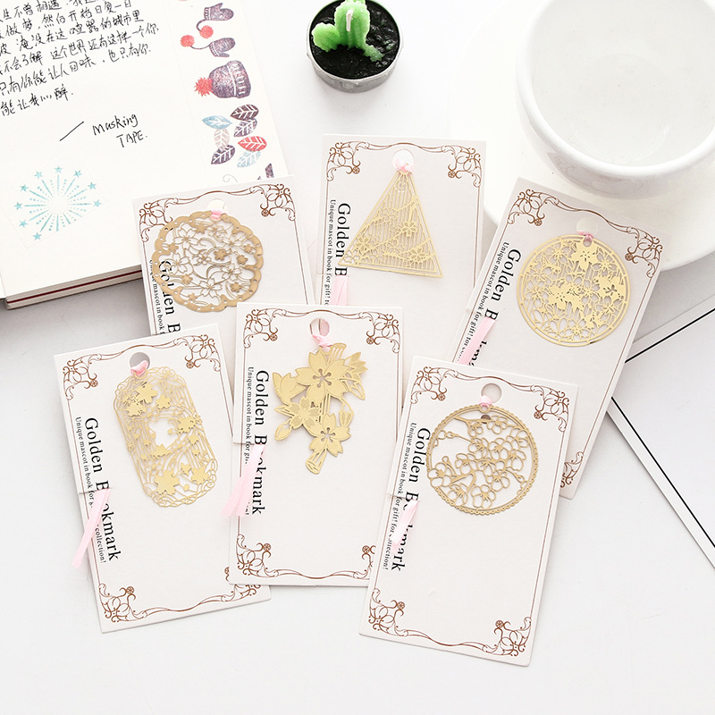 Sakura Gold Metal Bookmarks For Book Vintage Flowers Page Clip Stationery Office Accessories Chool Supplies Marcapaginas Gift