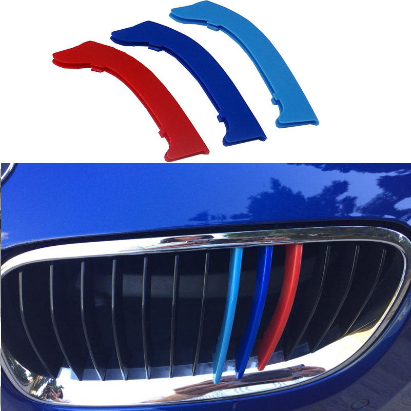 3D M Car Front Grill Strip Sport Grille Cover Stickers For 2005 to 2012 BMW 3 series E90 E91 320i 325i 330i 335i