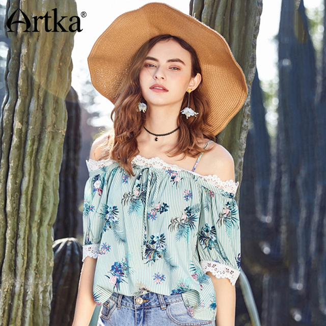 535a779c35 ARTKA Summer 2018 New Women Vintage Holiday Style Lace Stitching Slash Neck Print  Chiffon Loose Shirt SA10183XUS  27.64