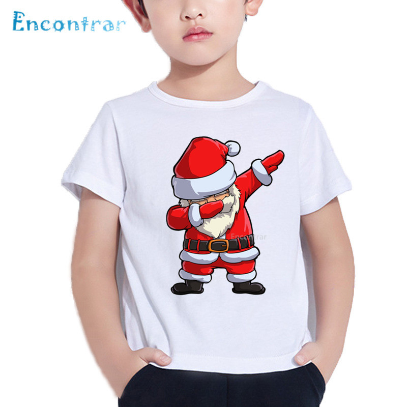 Merry Christmas Dabbing Santa Print Kids T shirt Baby Funny Cartoon T-shirt Boy/Girl Summer Short Sleeve Clothes,HKP5112 guess легкое пальто