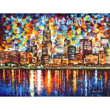 Hand Painted  city Landscape Abstract Palette Knife Modern Oil Painting Canvas Wall Living Room Artwork Fine Art