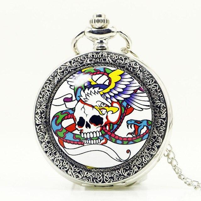 Practical Bronze Skull Phoenix Quartz Pocket Watch Pendant Chain Necklace Kol Saati Reloj Montre Horloge Uhren Men PB610