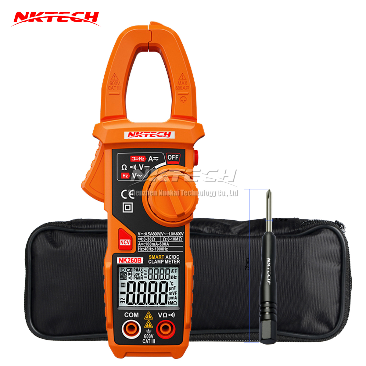 NKTECH NK260B Digital Clamp Meter Smart Auto Range AC DC Voltage Current Resistance Frequency Auto Recognize V/Ohm/A 6000 Counts