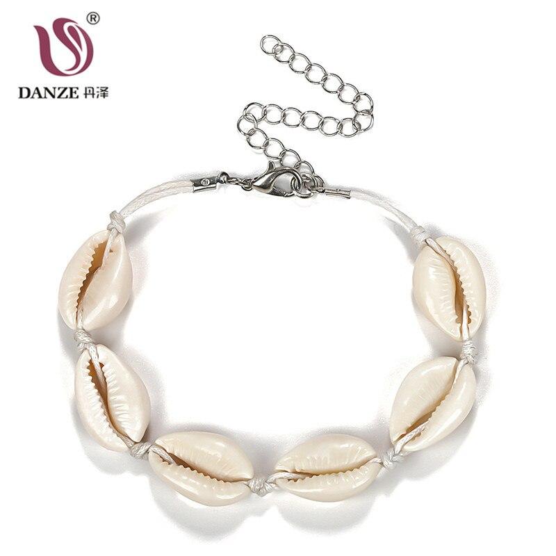 Danze Handmade Natural Seashell Charm Bracelet For Women Girl Adjustable Rope Lucky Shells Bracelets Beach Jewelry Accessories