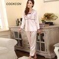 Premium Women Long-sleeved Sleepwear Silk Lingerie Lace Pants Suit Nightdress