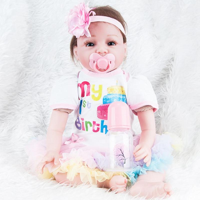 55cm Silicone Reborn Baby Doll kids Playmate Gift For Girls 22 Inch Baby Alive Soft Toys For Bouquets Doll Baby Reborn npkdoll 22 inch 55cm silicone reborn baby dolls with implanted mohair good price playmate christmas gift for children