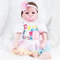 55cm Silicone Reborn Baby Doll Sleeping Baby Reborn Doll Toy Full Silicone Lifelike Baby Doll Children Playmate Toy