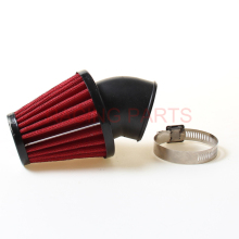 Ironwalls 35mm 42mm 48mm Red Motorcycle Air Filter Cleaner Clamp-on 45 Degree Bend Intake