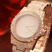 Luxury Rose Gold Watches Women Bracelets Diamond Dial Stainless Steel Wrist 2019 New Ladies Dress Clock relogio feminino