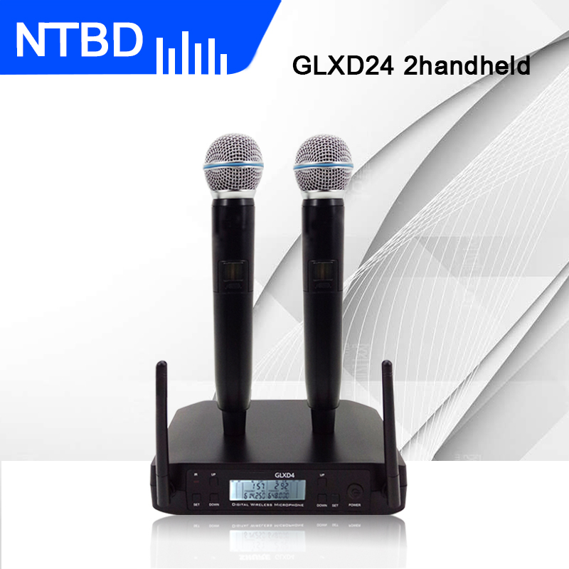 NTBD Stage Performance Home KTV Party Show Rap GLXD4 Professional Dual Wireless Microphone System Dynamic 2 Channel 2 Handheld