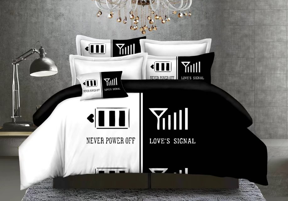 4pc black&white duvet cover flat sheet pillowcase warm bedding set Double/Queen/King