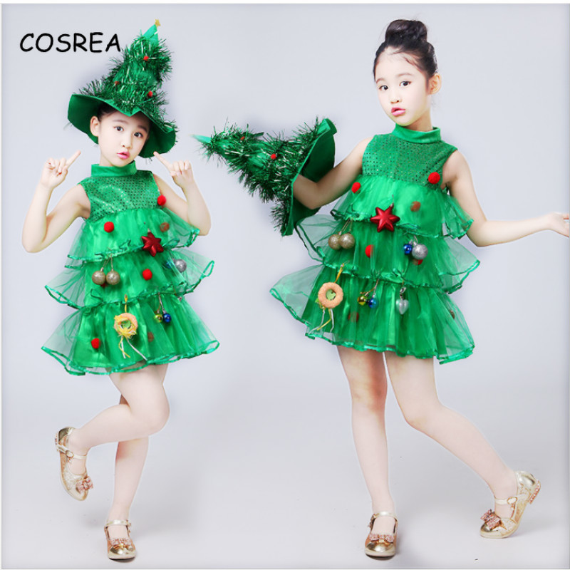 Cosrea Kids Girls Christmas Elf Cosplay Dress with Grenn Santa Hat Belt Tights Set Xmas Cosplay Party Costume Dress Up Clothes