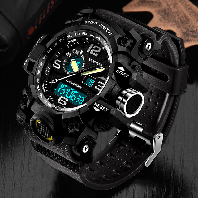 ed58308632c SANDA Esporte Militar Assistir Homens Top Marca de Luxo Famoso Relógio  Eletrônico Digital LED Relógios de