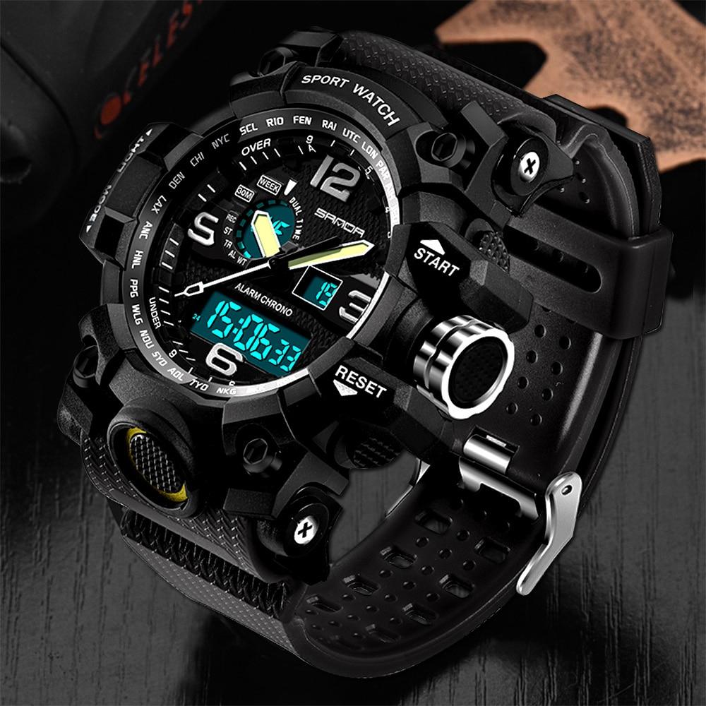 SANDA Military Sport Uhr Männer Top Marke Luxus Berühmte Elektronische LED Digital Armbanduhren Für Männer Männlichen Uhr Relogio Masculino