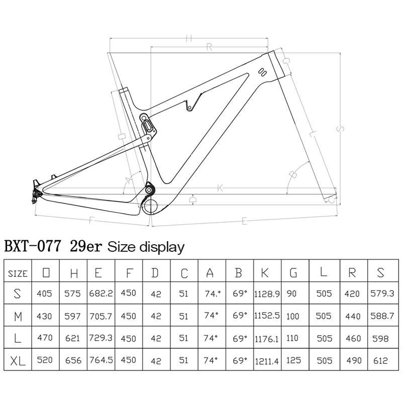 "BXT carbon suspension mountain bike frame 29er thru axle frames super light Suspension Frame Max tire 2.3""/2.35"" Bicycle Parts"
