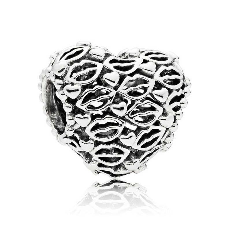 925 Sterling Silver Bead Charm Openwork hearts and lips