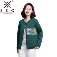 Spring Printed Stitching Women S Short Coat 2018 Diamond Lattice Bomber Jacket Long Sleeved Fashion Casual