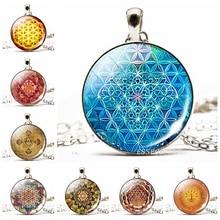 Sri Yantra Necklace Flower of Life Mandala Glass Cabochon Pendant Silver Chain Buddhism Spiritual Yoga Jewelry To Women