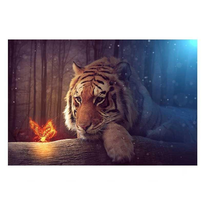 Art mural impressions sur toile photos 1 pièce fantaisie tigre et papillon peinture salon forêt animaux affiche décor à la maison cadre