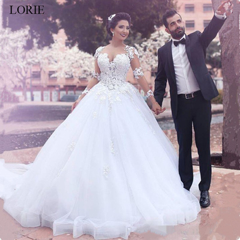 LORIE wedding dresses ball Gown 2019 Long sleeves Lace appliques vestido de noiva Whit ivory bridal Gowns plus size custom made ball gown wedding dresses 2019 elegant lace appliques tulle wedding gowns long sleeve bridal dresses white vestido de noiva