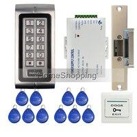 新しい防水金属rfidドアアクセスコントロールシステムキットセット+ストライクドアロック+ rfidキーパッド+電源+終了ボタン