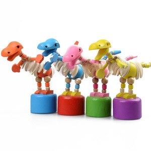 Image 4 - Brinquedos do bebê brinquedo de madeira criativo das crianças girafa fantoche balanço animal de terracota palhaço tambor pai criança brinquedos