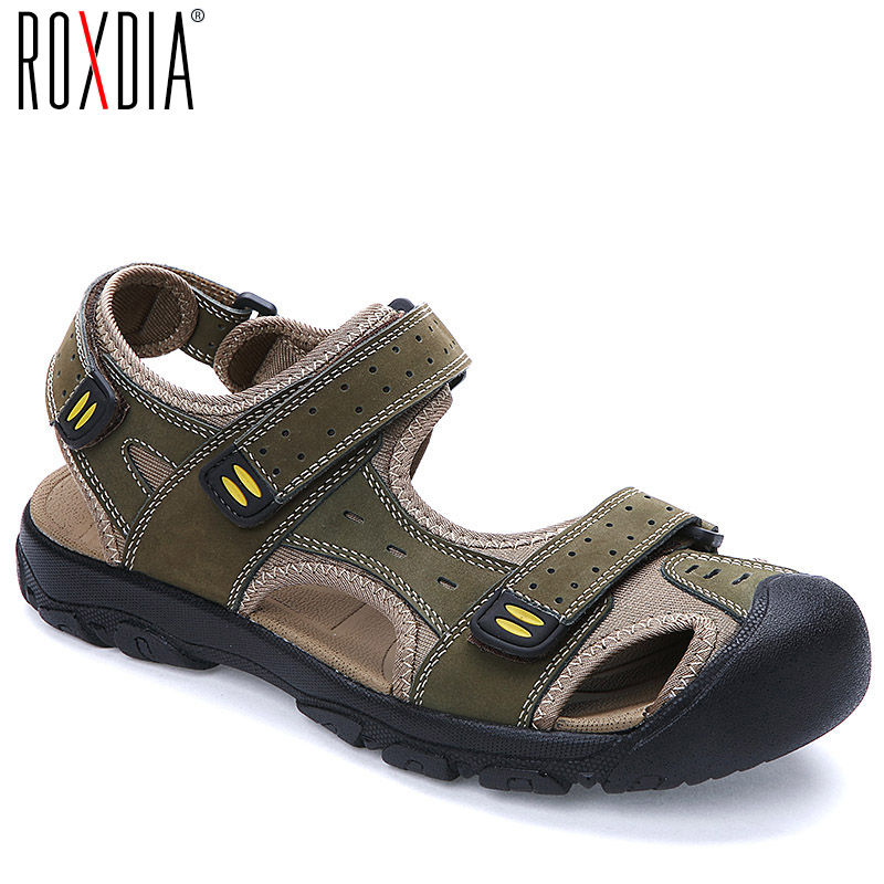 ROXDIA Plus Size 39-47 New Fashion Breathable Men Sandals Genuine Leather Summer Beach Shoes Mens Sandal Causal Shoes RXM004