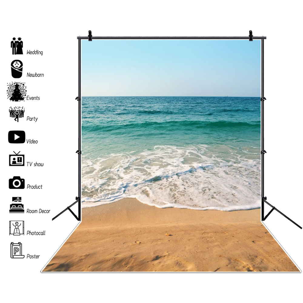 Laeacco Tropical Sea Waves Beach Sand Summer Holiday Natual Scene  Photographic Background