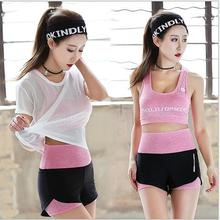 Summer women yoga suit 3 pcs sport set hollowed T shirt+Bra+Shorts slim fitness  workout clothes for wear