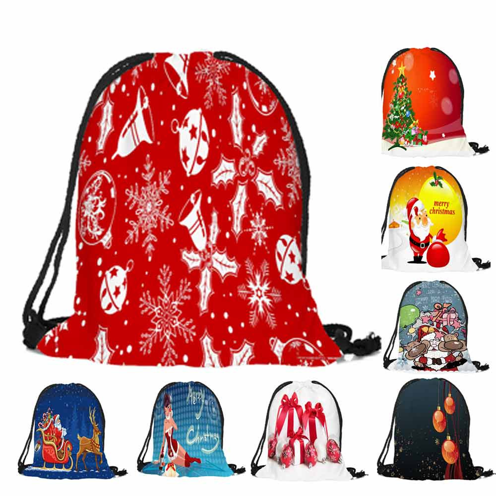 Sleeper #5001 2018 New Fashion Merry Christmas Candy Bag Satchel Rucksack Bundle Pocket Drawstring Bag For Kids Free Shipping