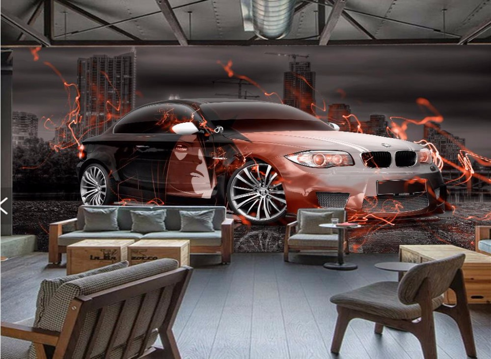 Custom photo Wallpaper 3D Sports car 3D Mural Wallpaper Nonwoven Living room Bedroom Bar 3D Mural Painting beibehang wallpaper custom home decorative backgrounds powerful bear paintings living room office hotel mural 3d floor painting