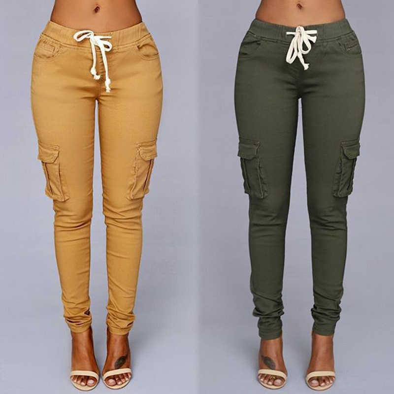 Plus Size High ElasticWaist pants Women Autumn Casual Skinny Pencil Pant female  Drawstring Spring Army green Trousers S-4XL