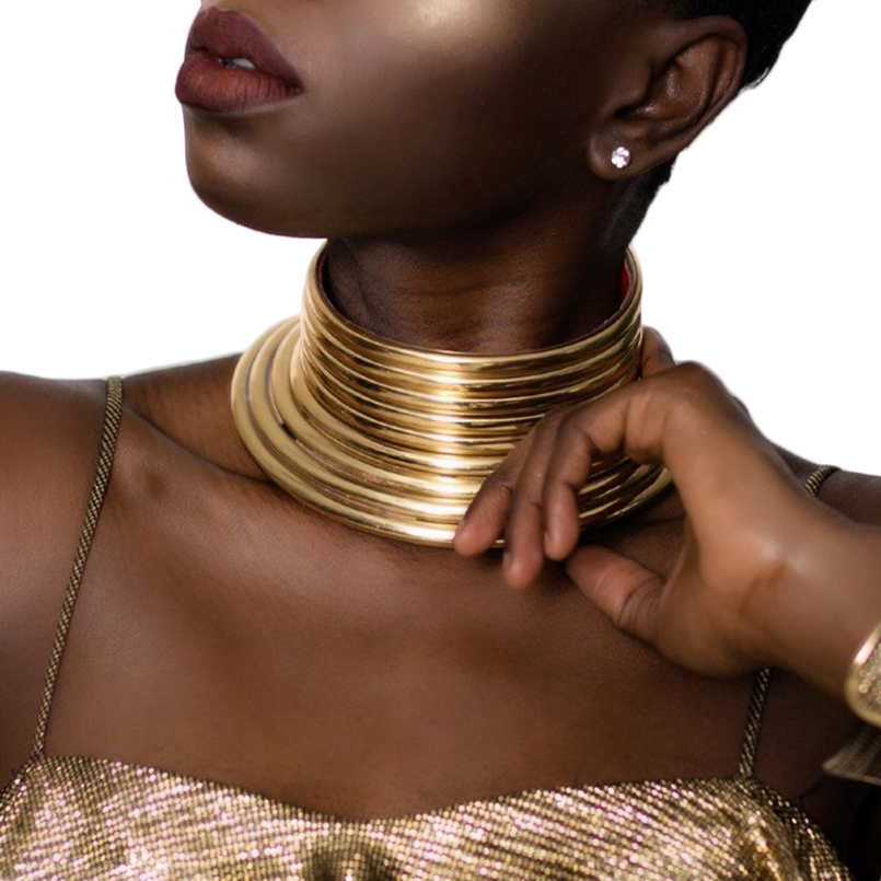 Statement Choker Necklace For Women Adjusted Leather Torques Collar Necklace African Vintage Jewelry Gold Color UKMOC