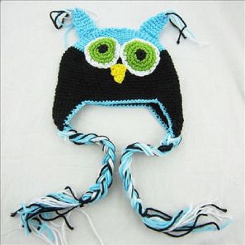 ca6950fbfbd0 Hooyi Baby Girls Hat Owl Crochet Newborn cap headwear Beanie Kids ...