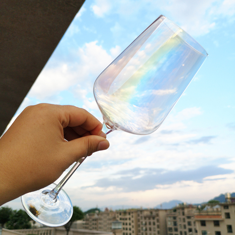 1pcs European Lead-free Crystal champagne glass Rainbow Red wine heart manual Goblet Large family