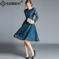 Simgent New Autumn Spring Long Sleeve Casual A Line Skater Office Elegant Women Dress Lace Woman Clothing Vestido Jurken SG8852