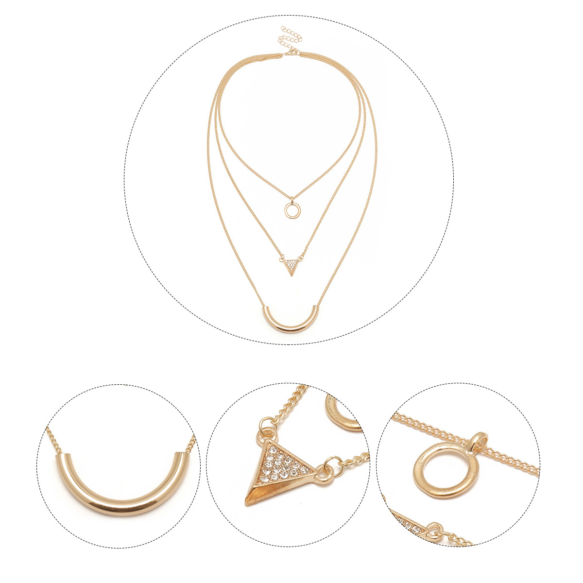 Retro ancient national style exaggerates multi layer Necklace geometry and drills multi element clavicle chain in Pendant Necklaces from Jewelry Accessories