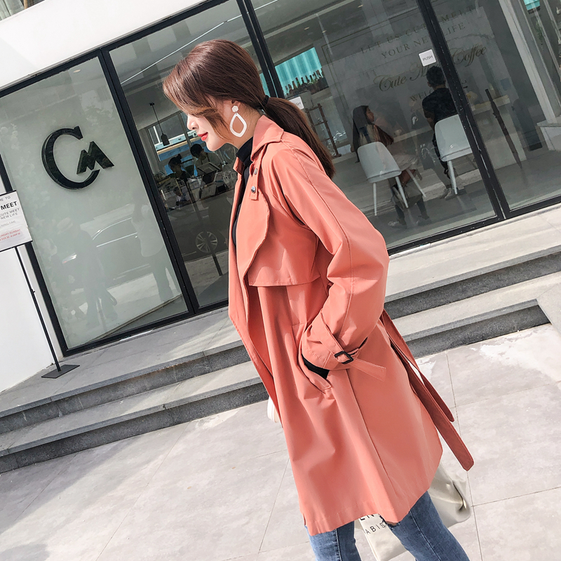 2019 Fashion Spring Autumn Women's   Trench   Coats korean Long section Chic port wind Loose casual waist Windbreaker Overcoat V461